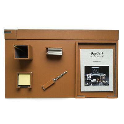 Bey Berk 6 Piece Brown Leather Desk Set.