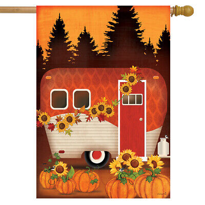 "Autumn Night Camper House Flag Primitive Fall Sunflowers 28""x40"" Briarwood Lane"