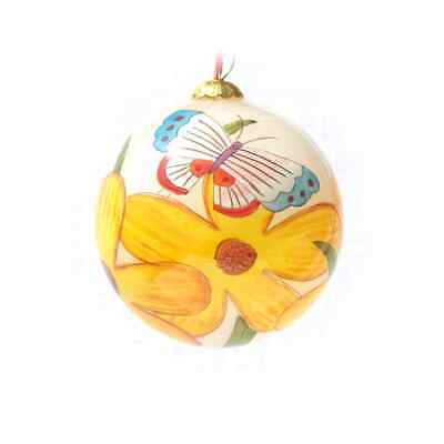 Yellow Flowers and Butterflies Christmas Ornament Painted inside + gift box ()