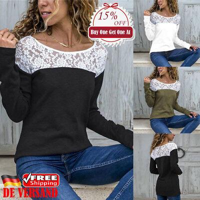 Patchwork-t-shirt Top (Damen Spitze Patchwork T-shirt Freizeit Oberteil Langarm Blusen Slim Basic Top)