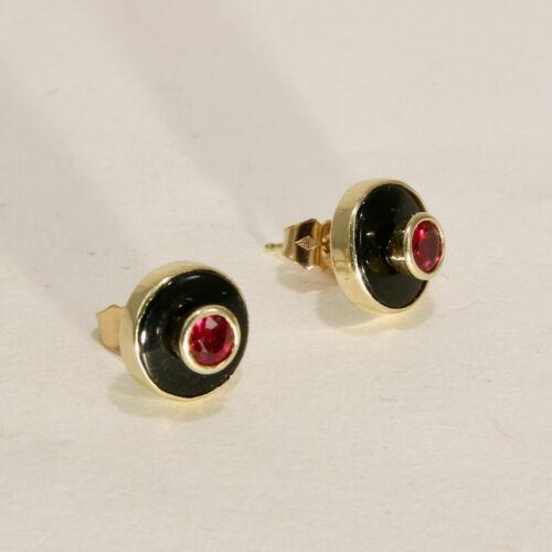 Antique Art Deco Ruby & Onyx 14k Yellow Gold Stud Earrings