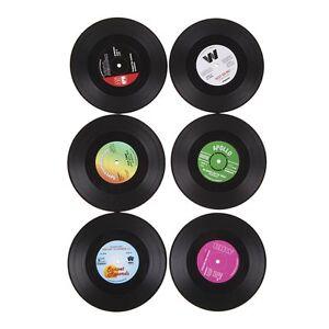 6PCS Drinks Mats Coasters album slip Vinyl Cup mat Record Table Bar Set