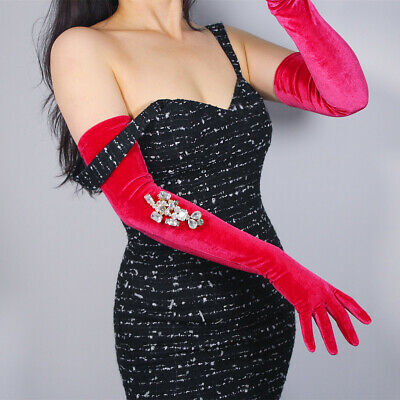 Velvet Gloves Opera Elbow Long Stretchy Rose Pink 60cm 23