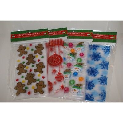 8 Pack Frosted Christmas Holiday Bakery Cookie - Holiday Cookie Bags