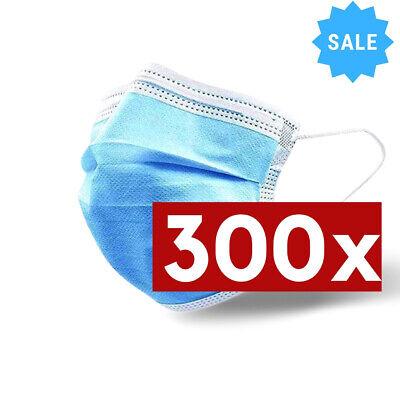OP : 300x Stück Schutz-Masken Mundschutz-Masken 3 Lagig Einwegmaske Einweg Blau