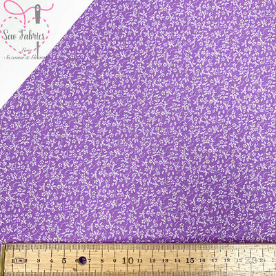Lavender Lilac 100% Craft Cotton Ditsy Daisy Fabric Purple