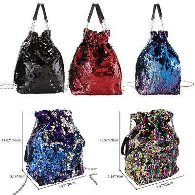 Womens Sequin Bag Bling Glitter Crossbody Shoulder Bucket Bags Messenger 4Colors