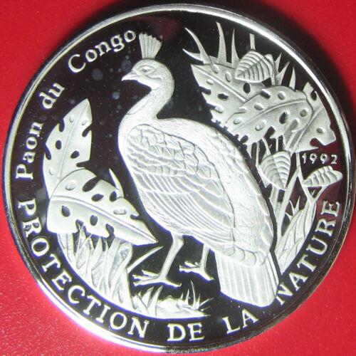 1992 CONGO 500 FRANCS .64oz SILVER PROOF CONGOLESE PEACOCK BIRD WILDLIFE RARE!