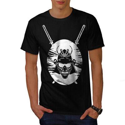 Japanese Warrior Designs (Wellcoda Japanese Warrior Fantasy Mens T-shirt, Evil Graphic Design Printed)