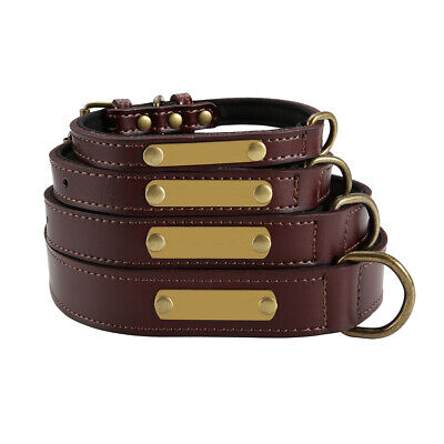 Pet Puppy Cat Dog Collar PU Leather Tag Adjustable Necklace Belt Brown S M L XL