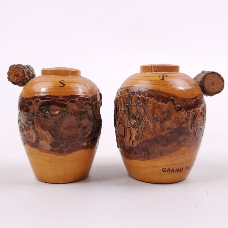 "Grand Mesa Colorado Souvenir Wood Urn Salt & Pepper Shakers 2 1/4"" Tall"