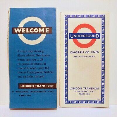 Vintage 1963 & 1965 LONDON UNDERGROUND Diagram of Lines & Transit Pocket Map Lot Metro Transit Map