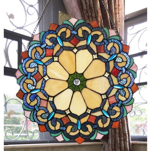 "Stained Glass Window Panel 18"" Wide Handcrafted Victorian Tiffany Style"