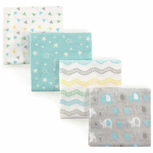 Luvable Friends 4 Piece Flannel Receiving Blanket, Gray Elep