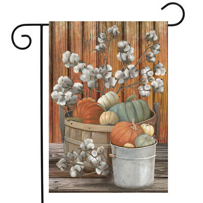 "Pumpkins and Willows Autumn Garden Flag Primitive Fall Floral 12.5"" x 18"""