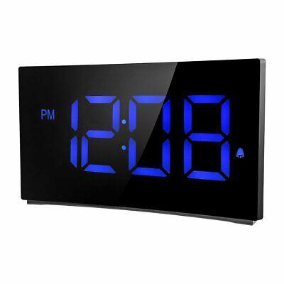 LED Digital Alarm Clock 5'' Curved Screen Snooze Timer Kids Clock Radio 12/24 H