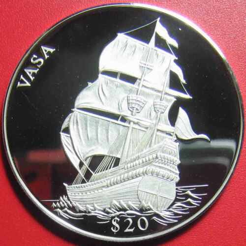 "2000 LIBERIA $20 SILVER PROOF ""VASA"" SWEDISH WARSHIP LEGENDS OF THE OCEANS RARE!"