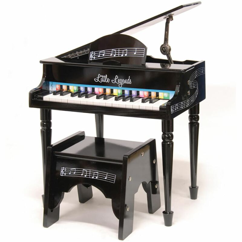 Little Legends LLBGD304B 4 Leg Baby Grand 30-Key Toy Piano w/ Bench, Black