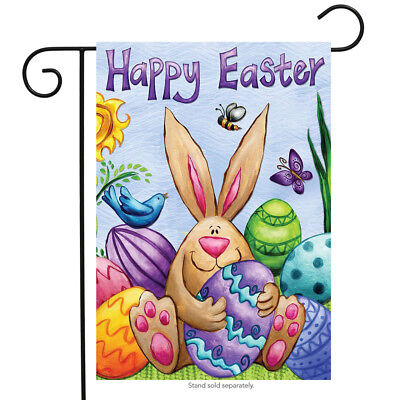 "Happy Easter Bunny Garden Flag Eggs Birds Holiday Briarwood Lane 12.5"" x 18"""