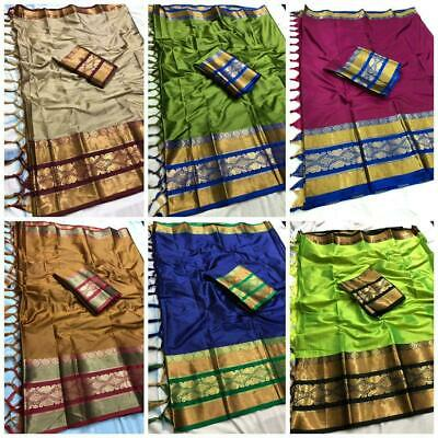 Indian Cotton Silk Saree Party Wear Designer Kanchipuram Bollywood Fancy V12