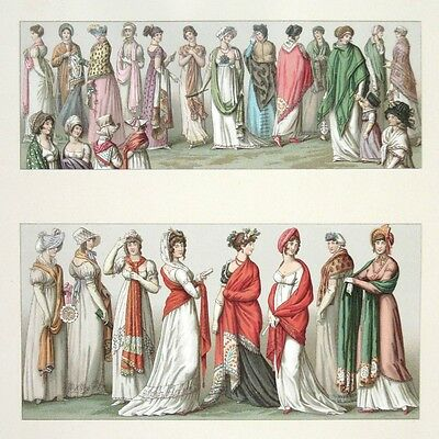 Antique FrenchLithograph. Women 18th Century Costumes France,by Racinet, 1888