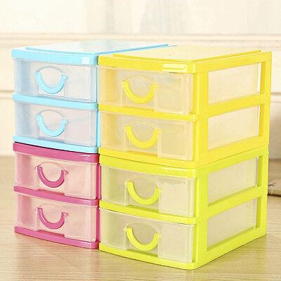 Creative Desktop Storage Box with Two Drawers Jewelry Holder Cabinets Organizer