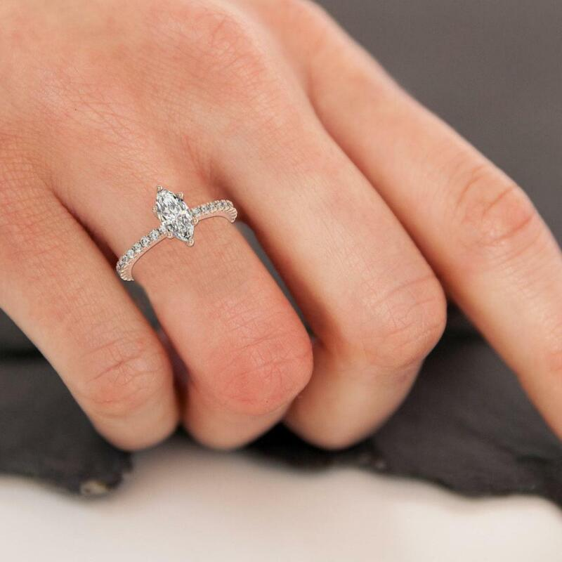1.75 Ct Marquise Cut Diamond Engagement Hidden Halo Ring F Si1 14k White Gold