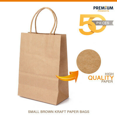 8 x 5 x 10 Kraft Brown Paper Cub Shopping Gift Bags with Rope Handles x 50 pcs - Brown Paper Bags With Handles