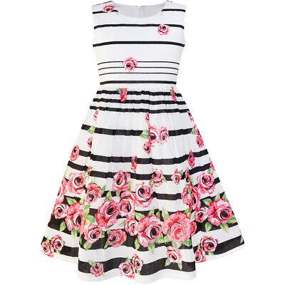 US STOCK Sunny Fashion Girls Dress Black Striped Pink Flower Sundress Size 4-12](Black Flower Girl Dresses)
