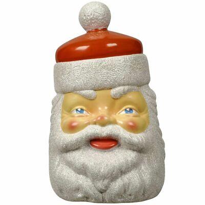 SANTA VINTAGE STYLE COOKIE JAR PLASTIC BLOW MOLD CHRISTMAS TREE CANDY ORNAMENT !