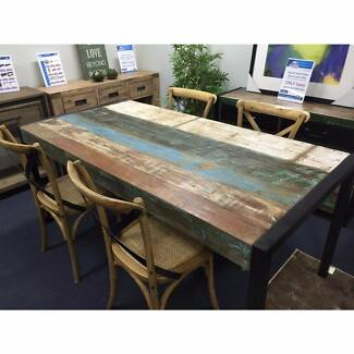 180x90cm Bondi Hardwood Timber Metal Industrial Dining Table
