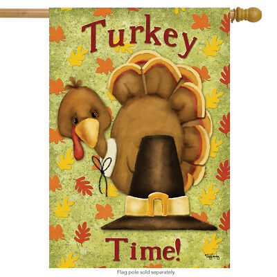 Turkey Time Thanksgiving House Flag Pilgrim Hat Holiday 28""