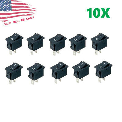 10pcs Mini Rocker Switch 2 Pin On-off Spst 125vac6a 250vac3a Black 117s Us