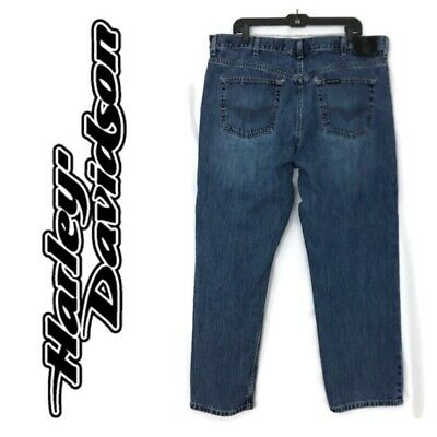 Vintage Harley Davidson Distressed Jeans Men's Size 40x30 Blue Denim Pants