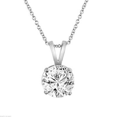 Solitaire Diamond Pendant Necklace GIA Certified 14K White Gold 1.01 Carat