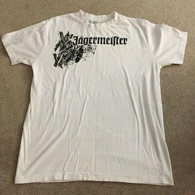 JAGERMEISTER JAGER vintage white t-shirt (Men's Large) ~~ (READ - HAS SPOTS)