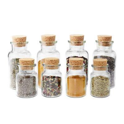8 WELLGRO Gewürzgläser 150/300 ml Gewürzglas Vorratsglas Korkenglas Korken Glas
