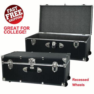 Footlocker Trunk Lockable Storage Organizer w/ Wheels, Great for College College Footlocker Trunk