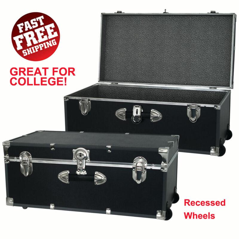 Footlocker Trunk Lockable Storage Organizer w/ Wheels, Great for College