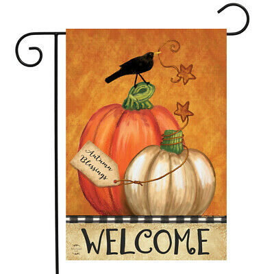 Rustic Pumpkins Fall Garden Flag Primitive Welcome Crow 12.5