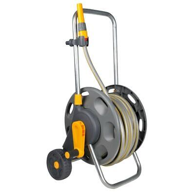 Hozelock 60m Assembled Hose Cart with 30m Garden Hose Pipe, Wheels & Handle Grey