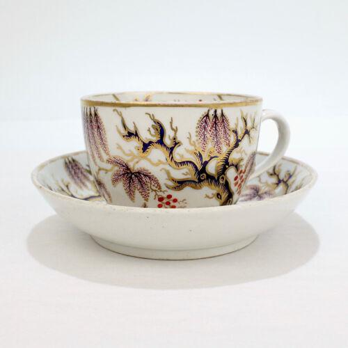 Antique 19th Century New Hall Vine Imari Pattern Porcelain Cup & Saucer - PC