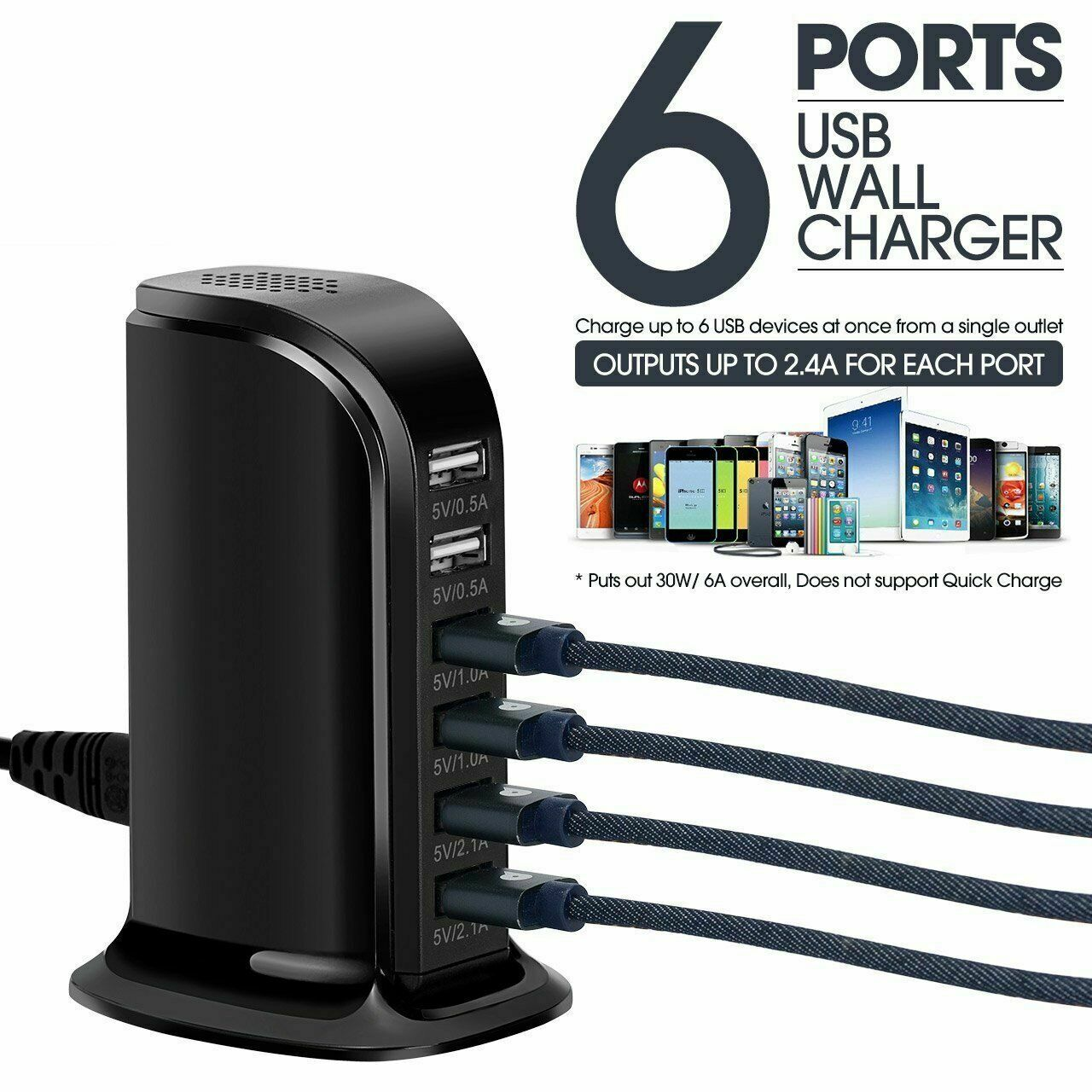 4/6/7 Port Multi-Port USB Wall Travel Charger Desktop USB Hub Charging Station Cell Phone Accessories