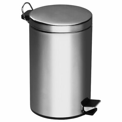 12L 30L Stainless Steel Pedal Bin Kitchen Bathroom Small Dustbin Waste Rubbish ()