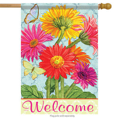Gerbera Blooms Spring Welcome House Flag Floral Double Sided Butterfly 28