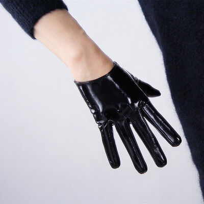 LATEX GLOVES Extra Short Faux Leather Dark Brown Coffee Shine Black Patent - Black Short Gloves