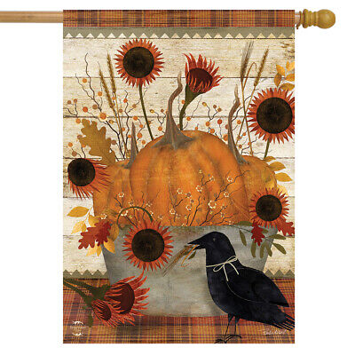"Primitive Pumpkins Autumn House Flag Sunflowers Fall 28"" x 40"" Briarwood Lane"