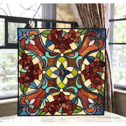 "Stained Glass Window Panel 20"" W x 20"" H Handcrafted Victorian Tiffany Style"