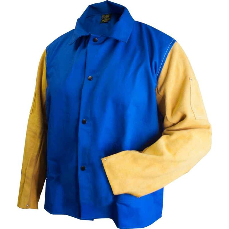 "Tillman 9230 30"" 9 oz. Blue FR Cotton/Leather Welding Jacket X-Large"