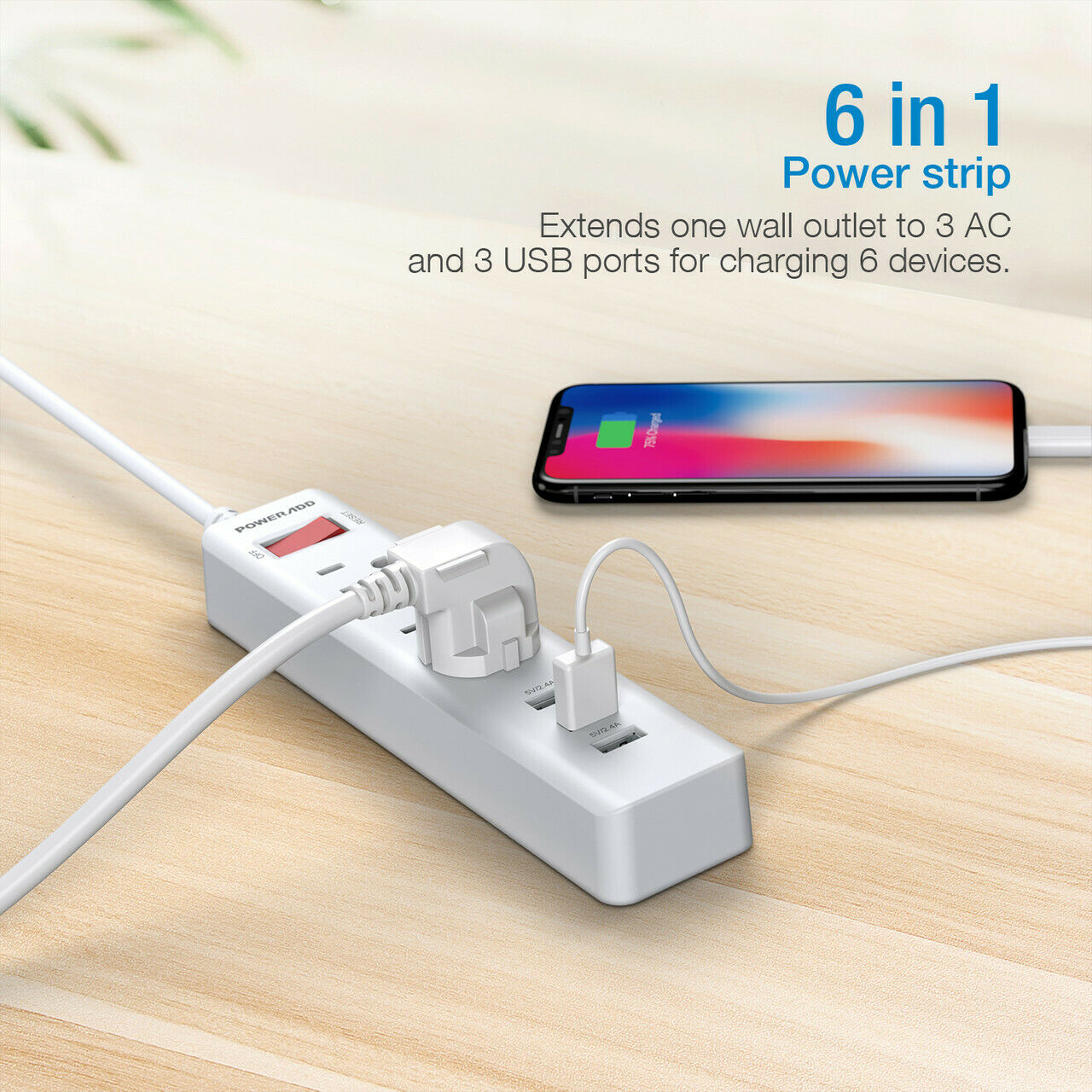 3Outlet Surge Protector Power Strip 1250W 3 USB Wall Charger Port Lightningproof